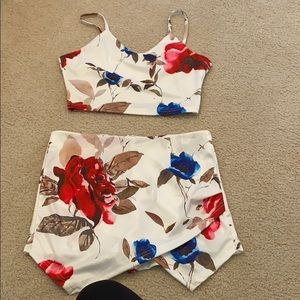 Two piece floral short set